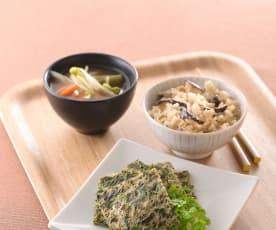 時蔬味噌湯&九層塔蛋佐野菇炊飯