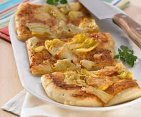 Pizza mit Frischkäse und Artischocken