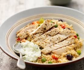 Lemon Chicken with Couscous and Tzatziki
