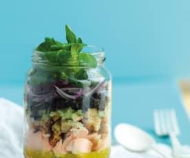 Salada de salmão com vinagreta de funcho em frasco