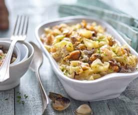 Zapékané těstoviny s plody moře a bešamelem (bez laktózy)