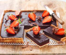Tarte aux fraises et chocolat