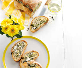 Bread Stuffed with Eggs and Green Beans