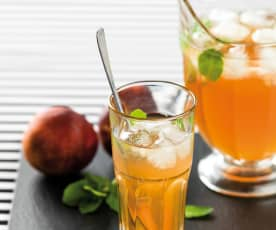 Boozy Peach and Mint Iced Tea