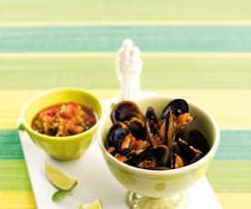 Mexilhões com pepino, pimento e hortelã