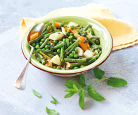 Jardinière de légumes, pesto de menthe