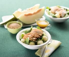Ensalada de espinacas, pollo y melón