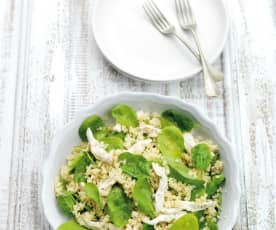 Salada de bulgur com frango e espinafres