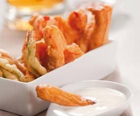 Krewetki i warzywa w tempurze