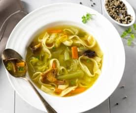 Soupe de champignons aux pâtes fraîches