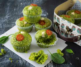 Polentamuffins mit Spinat und Feta