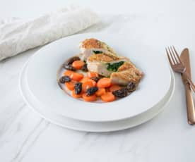 Gefüllte Poulardenbrust mit Morcheln und Ingwer-Karotten