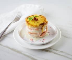 Lasagne von Kohlrabi und Lachsforelle