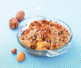 Crumble pommes, caramel et fruits à coques (sans gluten et sans lactose)
