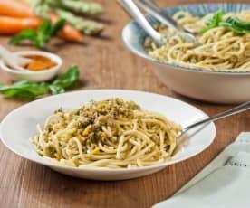Spaghetti al ragu' di asparagi