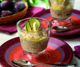 Bicchierini di semolino alla prugna e cipolla