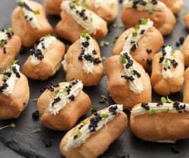 Smoked Cods Roe Eclairs with Horseradish Cream