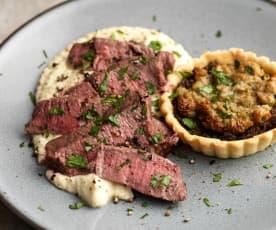 Fillet of Beef, Mushroom and Stilton Rarebit Tarts with Celeriac Purée