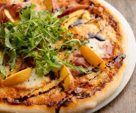 Nectarine and Prosciutto Spelt Pizza with Balsamic Glaze