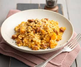 Pumpkin Pearl Barley Risotto with Chorizo