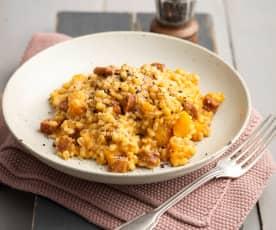 Pumpkin Pearl Barley Risotto with Chorizo