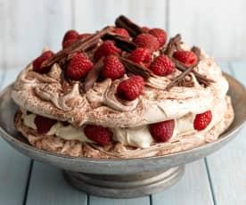Raspberry and Chocolate Swirl Pavlova