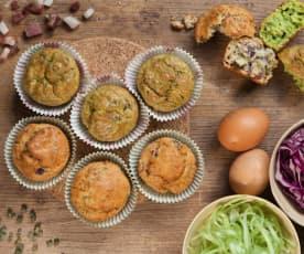 Muffin salati alle puntarelle e cappuccio rosso