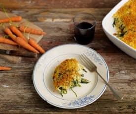 Baccalà gratinato con spinaci e carote