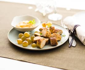Boudin blanc pané aux noisettes et cèpes, raisins et compotée de pommes