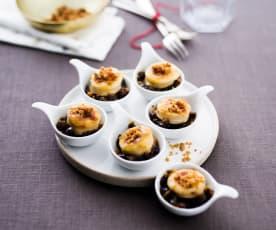 Cuillères de boudin blanc et pain d'épices sur confit d'oignons