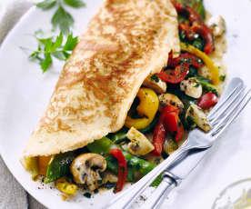 Pfannkuchen mit gemischtem Gemüse