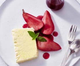 Barolo-Birne mit Honig-Parfait