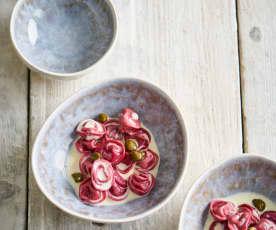 Tortellini de ervilhas com molho de gorgonzola