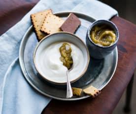 Crème au fromage blanc et rhubarbe