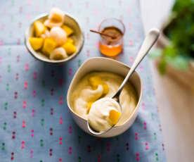 Mousse mascarpone, salade de litchis et mangue au miel