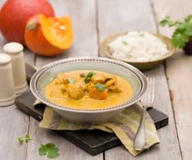 Curry z kurczaka z dynią i pieczarkami