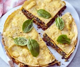 Spinat-Pfannkuchen-Torte