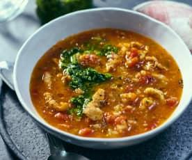 Zupa minestrone z piersią z indyka i pesto ziołowym