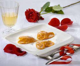 Cuori rossi ripieni ai formaggi (per 2 persone)