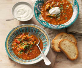Moroccan harira soup with chicken