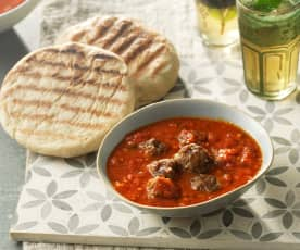 Moroccan lamb meatballs with batbout flatbreads