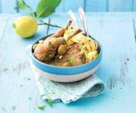 Poulet aux olives, citron et tagliatelles