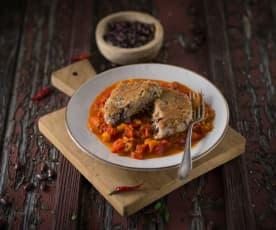 Bohnenlaibchen mit Paprikaragout (vegan)