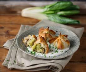 Erdäpfelsackerl mit Mangold und Pilzen (vegan)