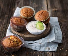 Würzige Muffins mit Gurkendip (vegan)