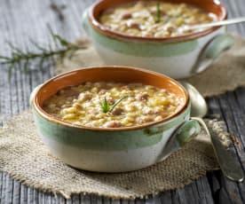 Zuppa d'orzo e fagioli