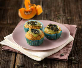 Kürbismuffins mit Zitronen-Minz-Glasur (vegan)