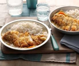 Poulet katsu au riz et curry