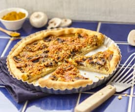 Quiche au poulet, curry et champignons
