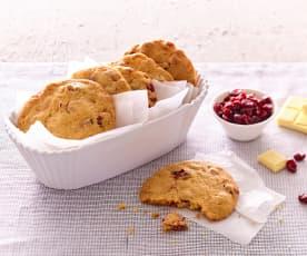 Cookies au chocolat blanc et canneberges
